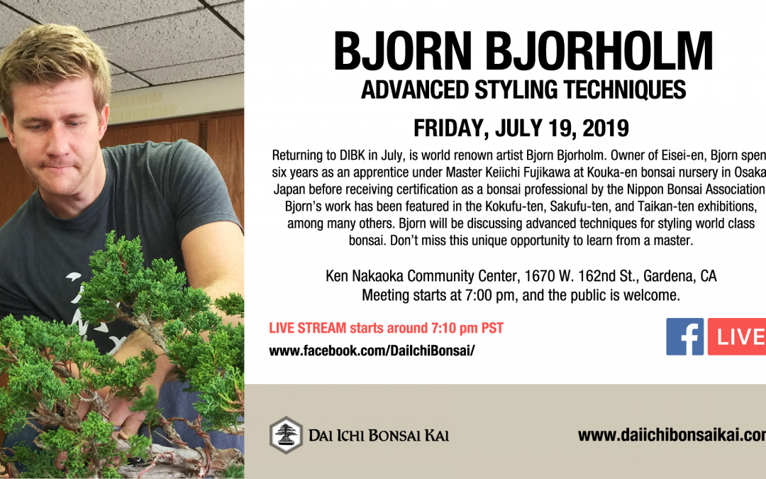 JULY 19th 2019 MEETING | AN EVENING WITH BJORN BJORHOLM