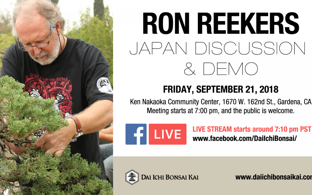 SEPTEMBER 21st 2018 MEETING –  RON REEKERS